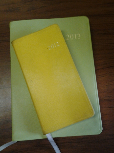 new year, new plans. bigger ones! [both planners by Gallery Leather--they have golden edges=fancy=awesome]