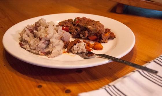 forked mini veggie meatloaf